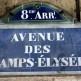 Naambordje van de Champs-Elysées